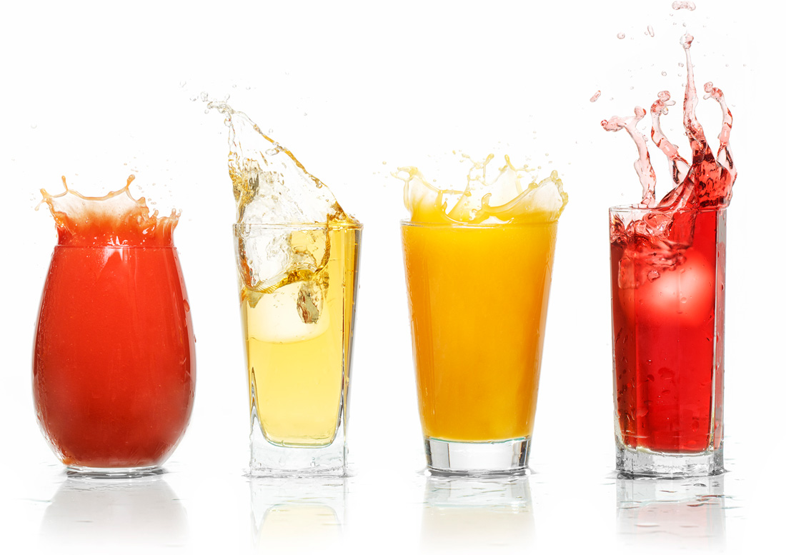 Bottling Plant - Glases of various fruit juices